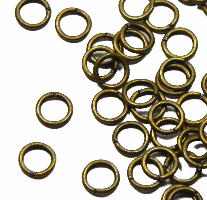 100 Jump Rings  Antiqued Gold-plated Brass 8mm Round 16 Gauge Open Sold Per Pkg of 100