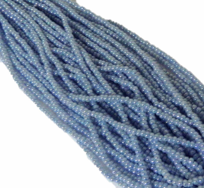 Blue Pearl Czech 6/0 Seed Bead on Loose Strung 6 String Hank