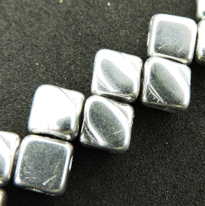 Full Labrador 6mm Diamond Glass Czech Two Hole Tile Bead 40 Beads