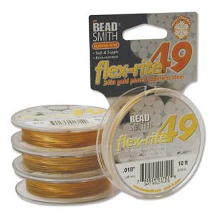 "24kt Gold Plated Stainless Steel Flex Rite Beading Stringing Wire .018"" 10' 49 St"