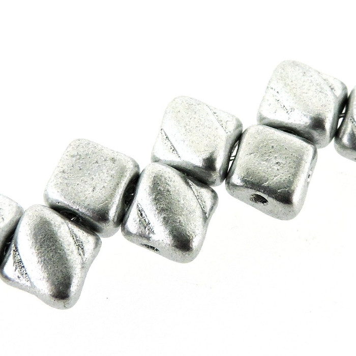 Bronze Aluminium 6mm Diamond Glass Czech Two Hole Tile Bead 40 Beads