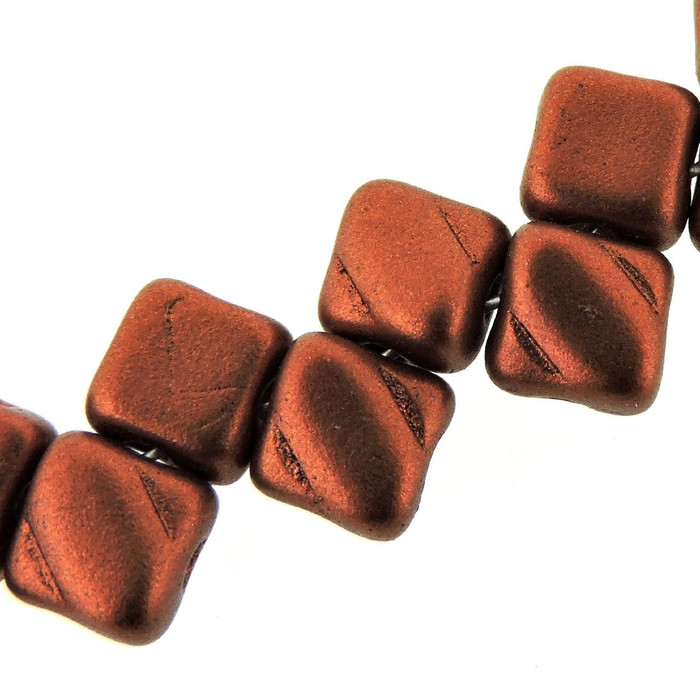 Bronze Fire Red 6mm Diamond Glass Czech Two Hole Tile Bead 40 Beads