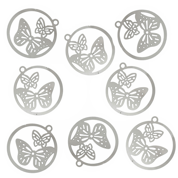 20 Thin 304 Stainless Steel Butterfly Charm Pendant 23x21mm 0.3mm Thick