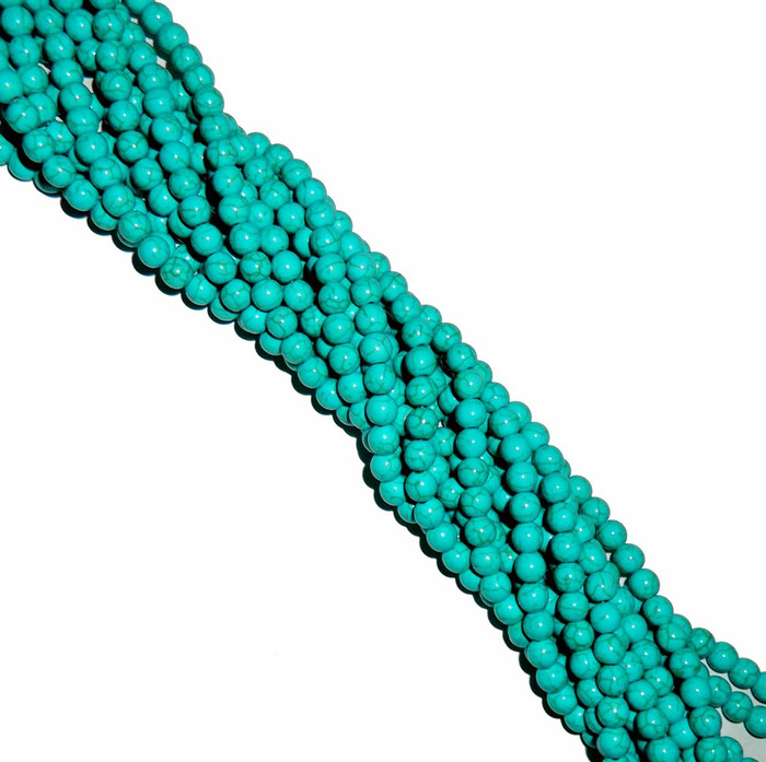 8mm Round Blue Dyed Howlite/Turquoise Gemstone Beads 15 Inches Beads