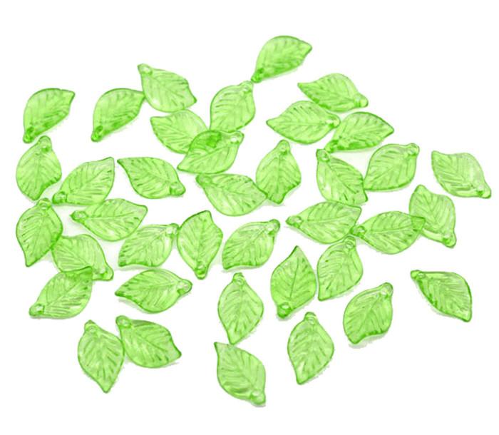 450 Green Leaf Acrylic Beads Bead 18x11mm Approx 3/4 Inch