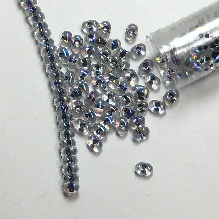 Noir Lined Crystal Ab New Miyuki Berry Bead 2.5x4.5mm Seed Bead Glass 22 Gram