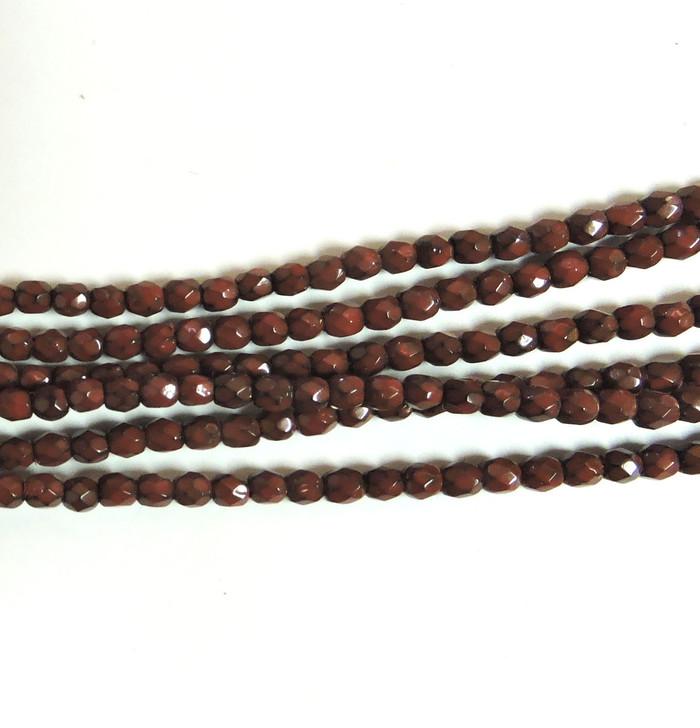 Dark Coral 3mm Snake Skin Faceted Firepolish Czech Glass 48 beads
