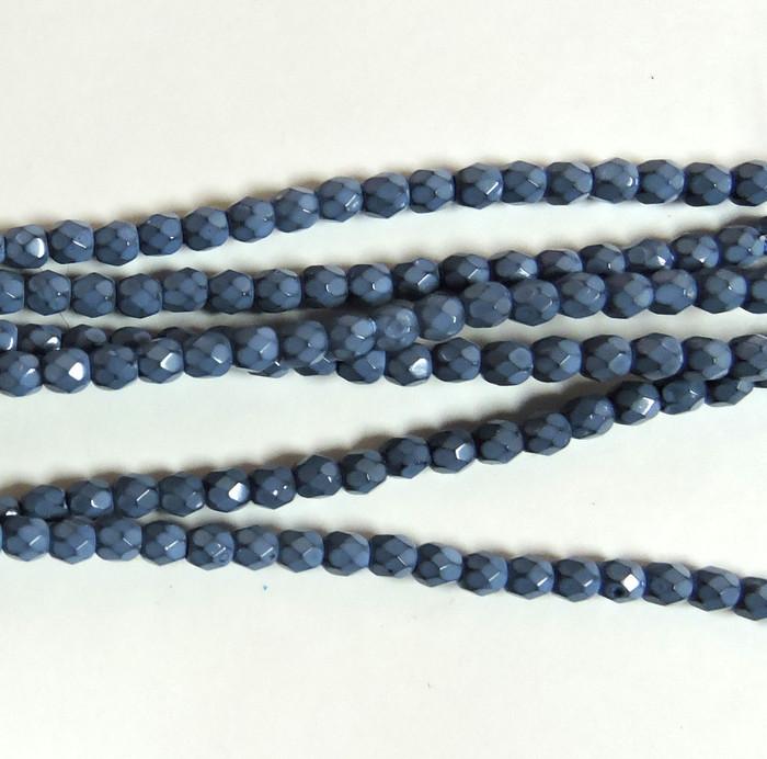 Placid Blue 3mm Snake Skin Faceted Firepolish Czech Glass 48 beads