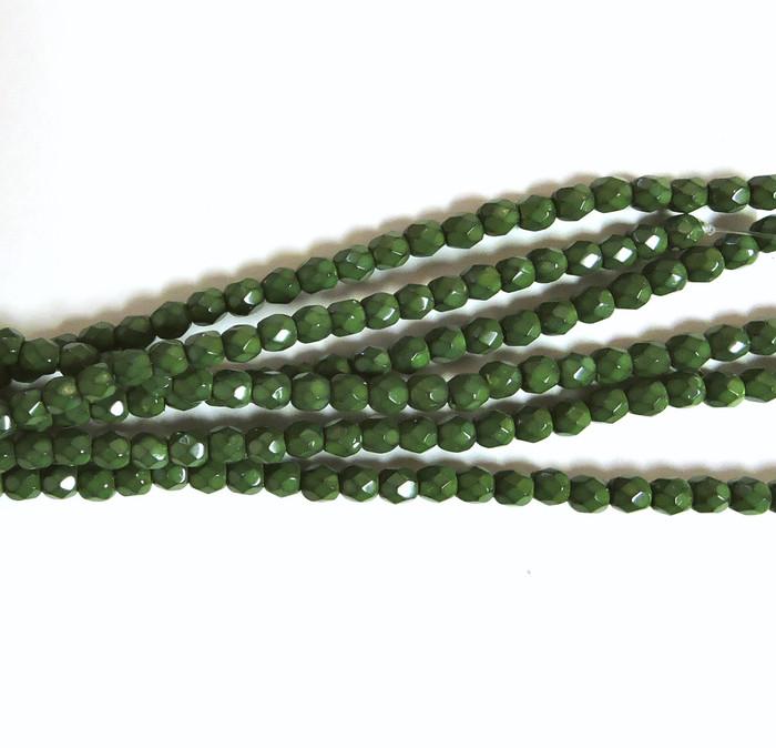 Oliven 3mm Snake Skin Faceted Firepolish Czech Glass 48 beads