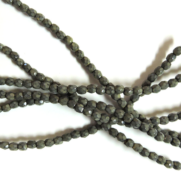 Sand 3mm Snake Skin Faceted Firepolish Czech Glass 48 beads