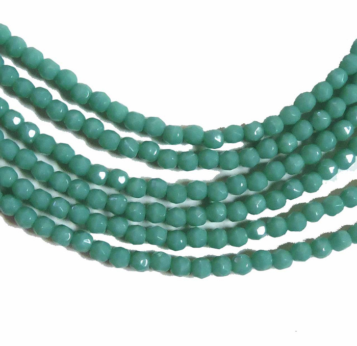 Turquoise Green 3mm Faceted Firepolish Czech Glass 48 beads