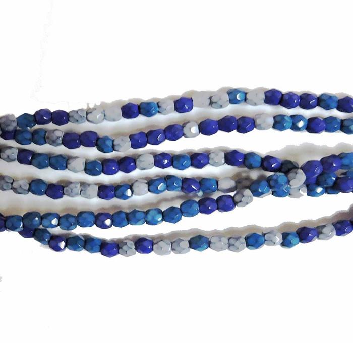 Ocean Mix 3mm Faceted Firepolish Czech Glass 48 beads
