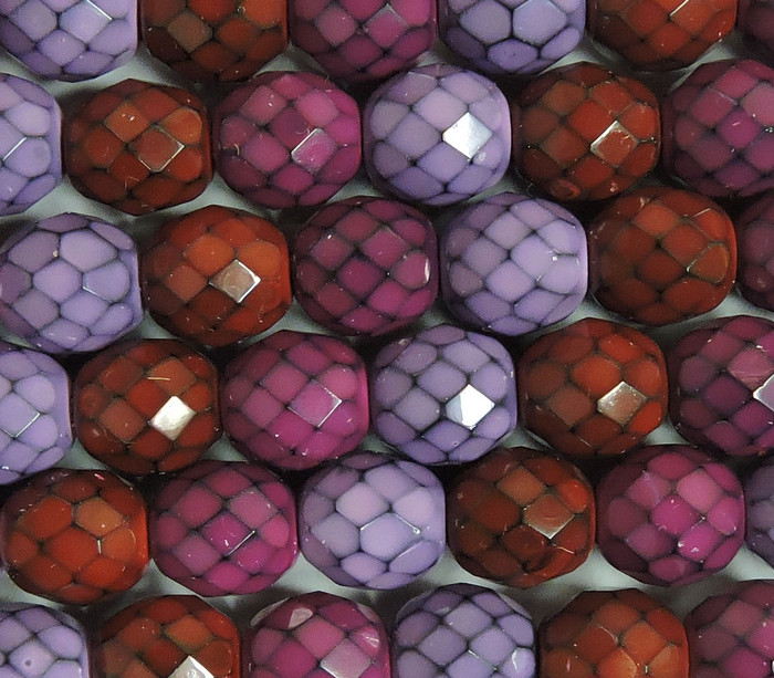 Berry Snake Mix 15 Czech 10mm Faceted Round Firepolished Glass Beads 6""