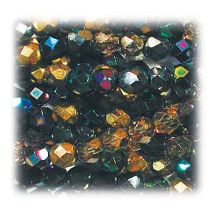 Heavy Metals Mix 48 Czech 10mm Faceted Round Firepolished Glass Beads