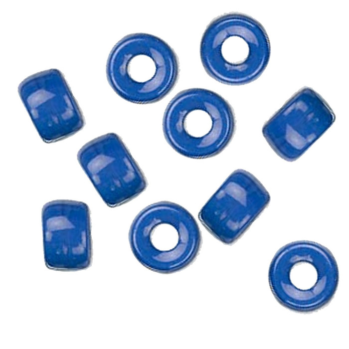 Blue Opaque 10pc Czech Glass Macrame & Leather Crow Beads 9x4mm 3mm Hole