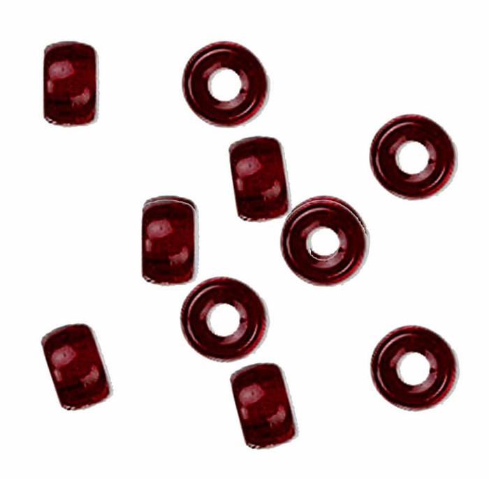 Garnet Red 10pc Czech Glass Macrame & Leather Crow Beads 9x4mm 3mm Hole