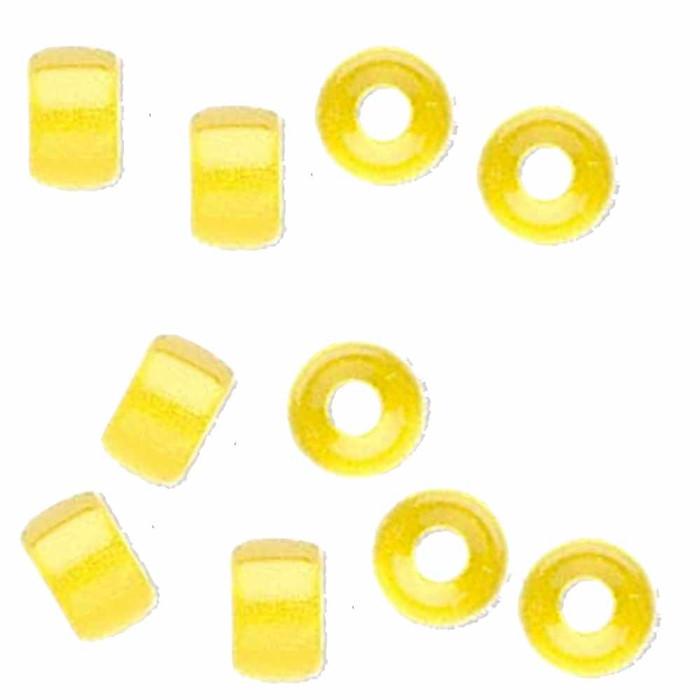 Yellow 10pc Czech Glass Macrame & Leather Crow Beads 9x4mm 3mm Hole