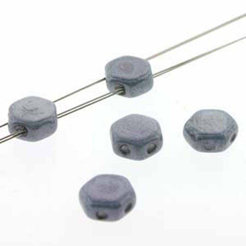 Blue Luster 30 loose beads 6mm 2-Hole Czech Glass Honeycomb Beads HC0603000-14464