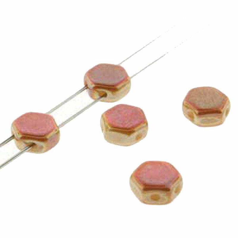 Chalk Apricot 30 loose beads 6mm 2-Hole Czech Glass Honeycomb Beads HC0602010-29123
