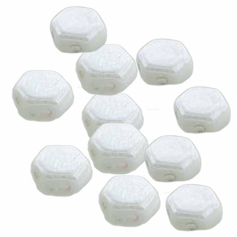 Chalk Opaque 30 loose beads 6mm 2-Hole Czech Glass Honeycomb Beads HC0603000