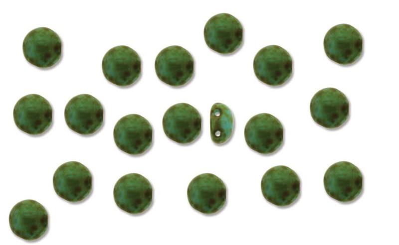 Lt Blue Travertne Preciosa Czech Glass Candy Beads 8mm 2-Hole Cabachon CND0863020-86800