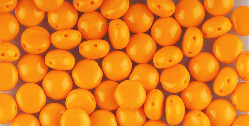 Orange Preciosa Czech Glass Candy Beads 8mm 2-Hole Cabachon CND0893120