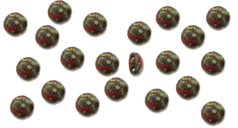 Red Travertine Preciosa Czech Glass Candy Beads 8mm 2-Hole Cabachon CND0893180-86800