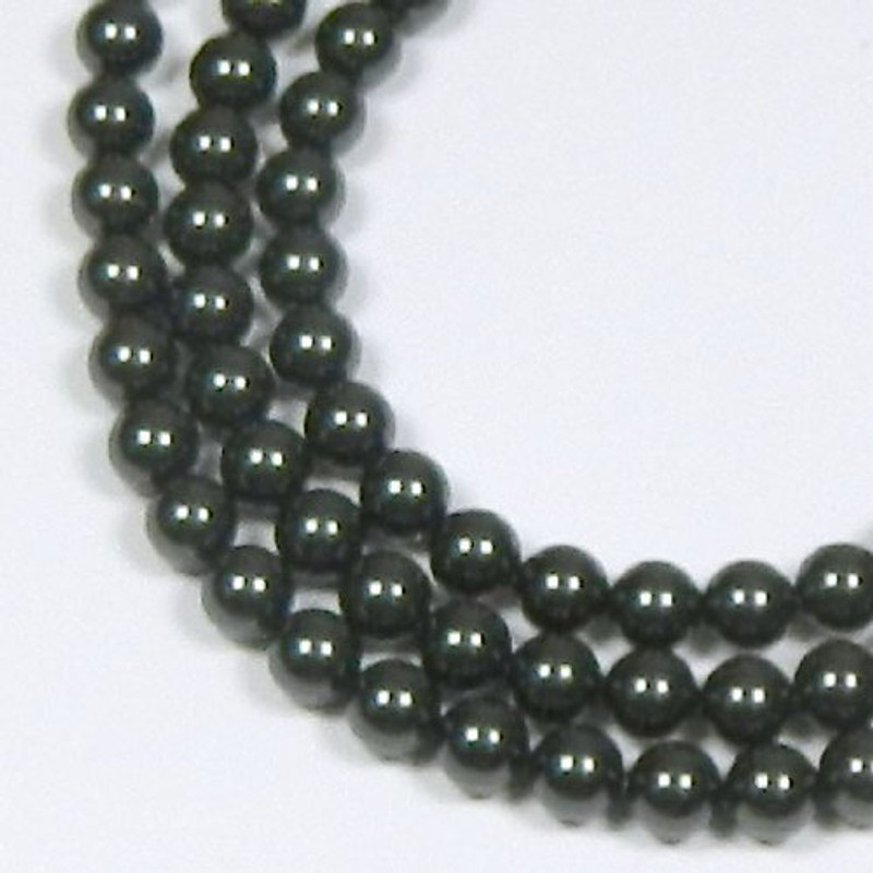 "100 Swarovski Crystal Pearls 4mm Round Beads 5810. 16"" Loose Strand Black 581004BLK"
