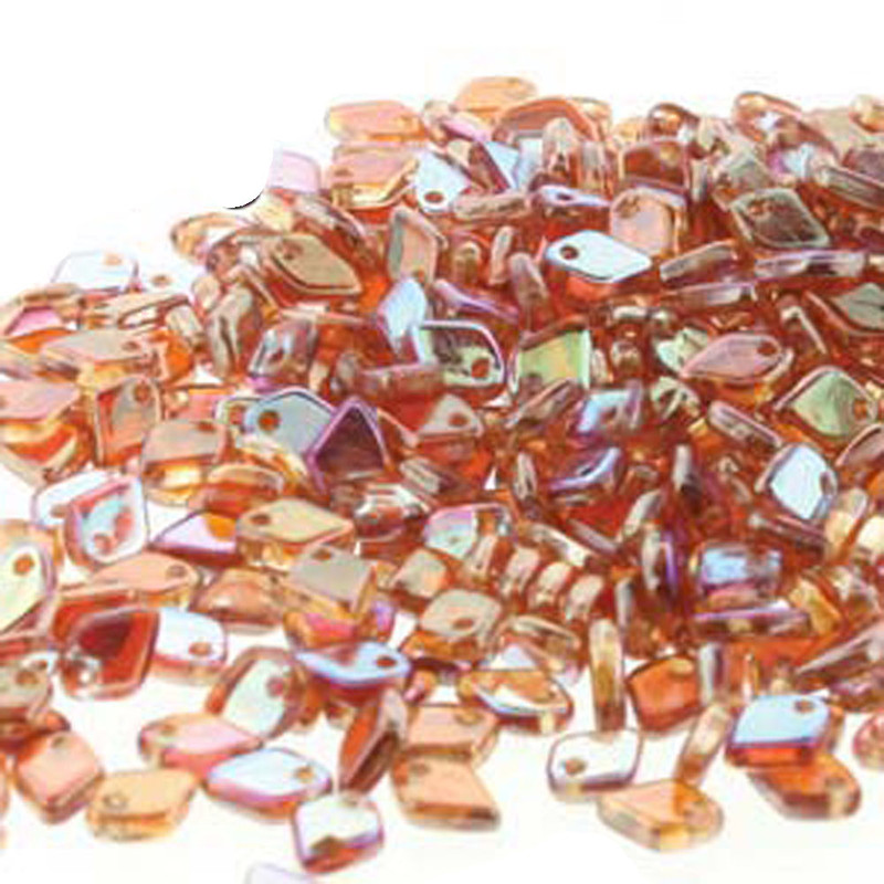 Crystal Orange Rainbow Czech Glass Dragon Scale Bead 1 5x5mm 9 5 Grams DRG398535-TB