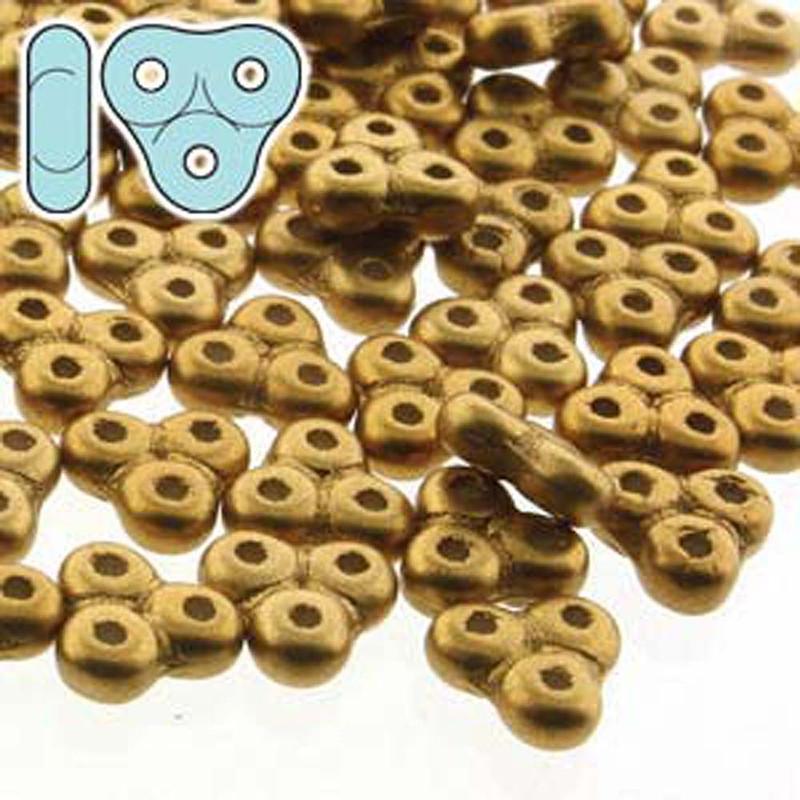 Matte Metal Antq Brass 6mm Trinity 3-hole Czech Glass Beads 8 Grams TRT36-29415-TB