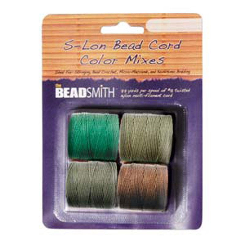 4 Spools Super-lon #18 Nylon Beading Jewelry Stringing Cord S-lon Earth Tones Mix