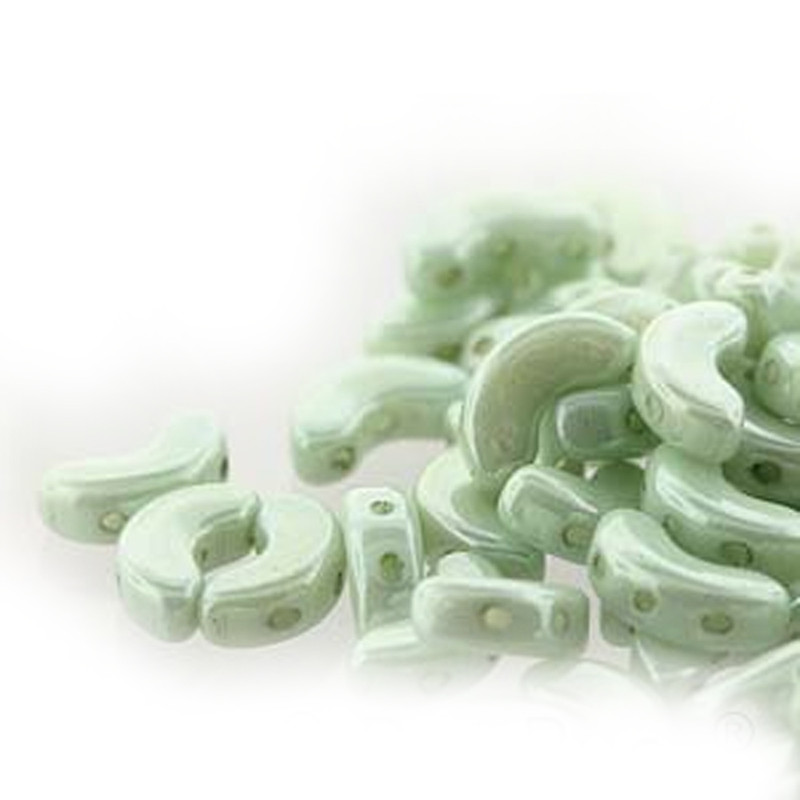 Opaque Lt Green Luster Arcos Par Puca Cresent Moon 3-hole 30 Glass Beads HP-ARC510-03000-14457-30PC