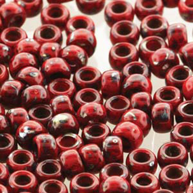Matubo Czech Glass Seed Beads 7/0 (3.5mm) 50 Grams 1.5mm Hole (Coral Rd Picasso Op)