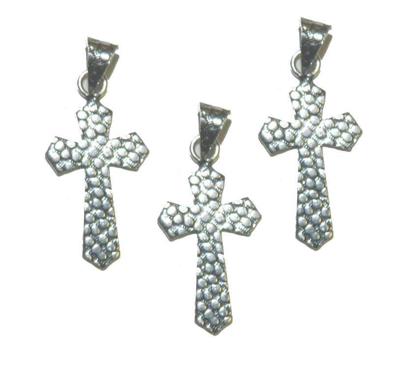 3 Cross Pendants With Bail Antique Silver Plated Copper 32x20mm BA-K-3985