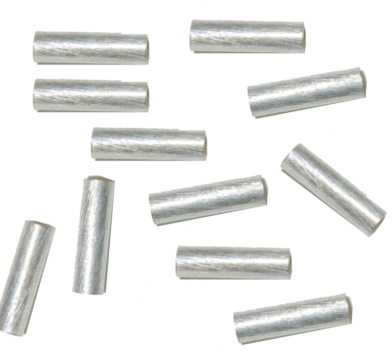 4x20mm Strait Tube Beads Silver Plated Copper 2.7mm Hole 12 Pcs BA-K-3885