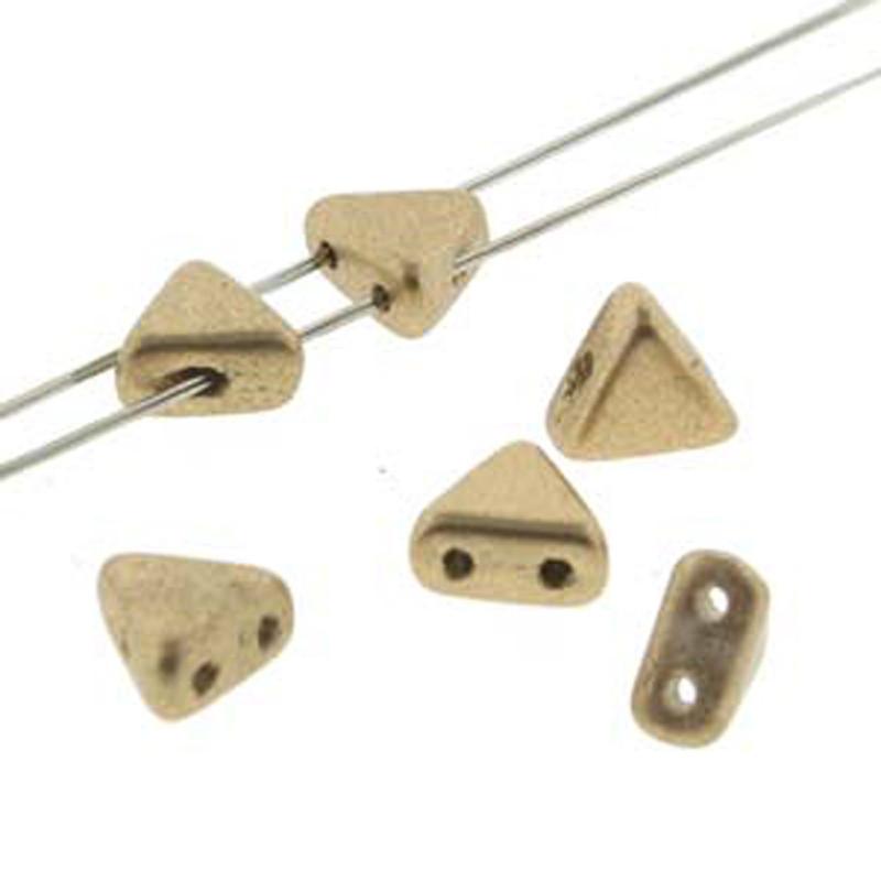 Gold Matte Kheops Par Puca 6mm 2 Hole Triangle Czech Glass Beads KHP06-00030-01710-TB