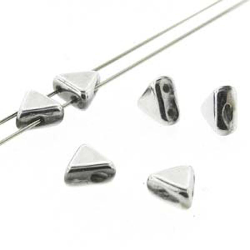Argentees 9 Gram Kheops Par Puca 6mm 2 Hole Triangle Czech Glass Beads KHP06-00030-27000-TB