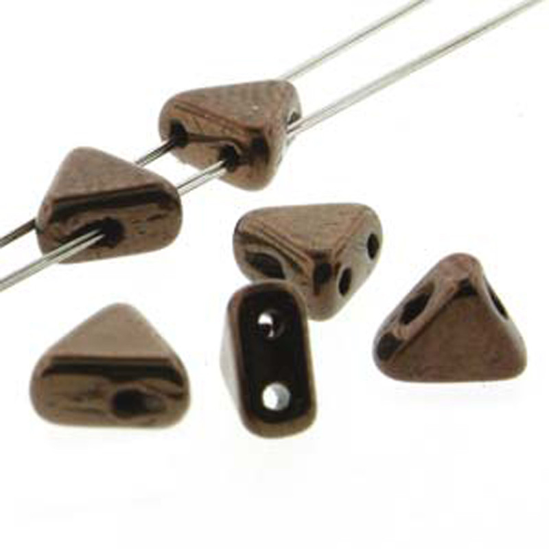 Dark Bronze 9 Gram Kheops Par Puca 6mm 2 Hole Triangle Czech Glass Beads KHP06-23980-14415-TB