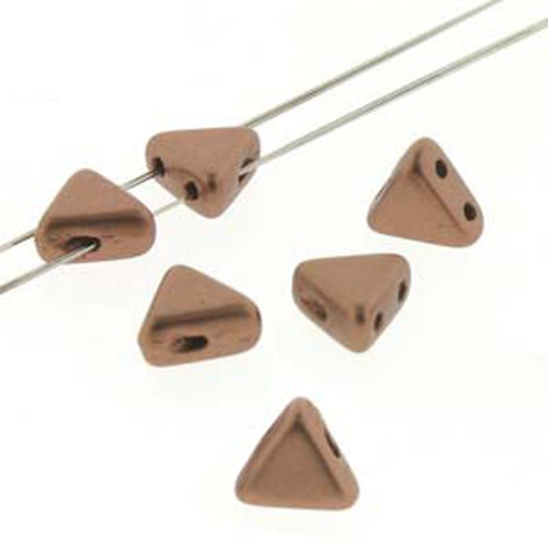 Copper Gold Matte 9 Gram Kheops Par Puca 6mm 2 Hole Triangle Czech Glass Beads KHP06-00030-01780-TB