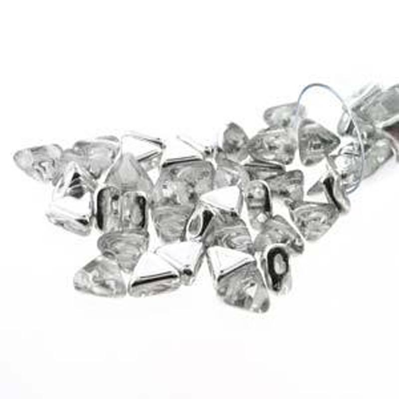 Crystal Cal 9 Gram Kheops Par Puca 6mm 2 Hole Triangle Czech Glass Beads KHP06-00030-27001-TB