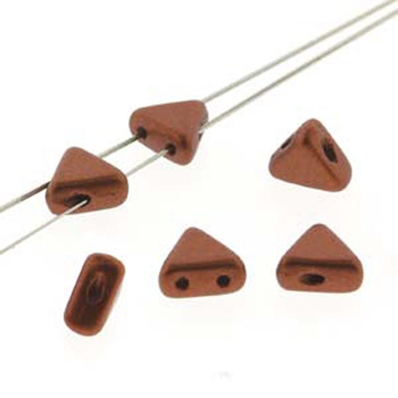 Bronze Red Matte 9 Gram Kheops Par Puca 6mm 2 Hole Triangle Czech Glass Beads KHP06-00030-01750-TB