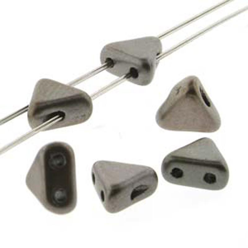 Crystal Grey Rainbow 9 Gram Kheops Par Puca 6mm 2 Hole Triangle Czech Glass Beads KHP06-00030-01670-TB