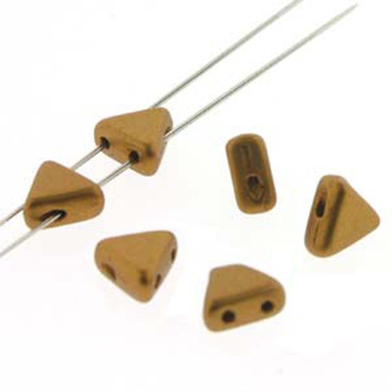 Bronze Gold Matte 9 Gram Kheops Par Puca 6mm 2 Hole Triangle Czech Glass Beads KHP06-00030-01740-TB