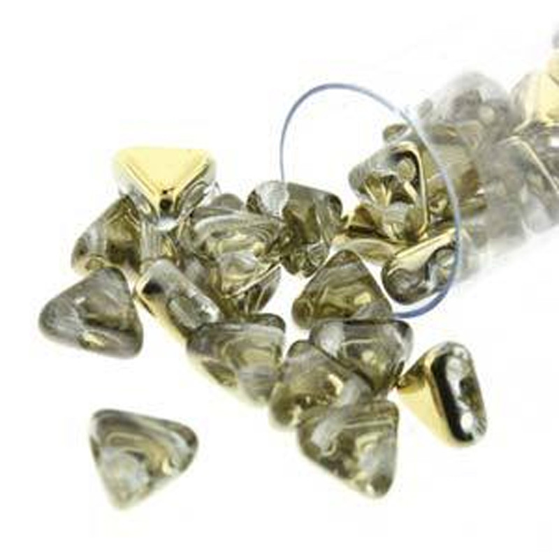 Crystal Dorado 9 Gram Kheops Par Puca 6mm 2 Hole Triangle Czech Glass Beads KHP06-00030-26441-TB