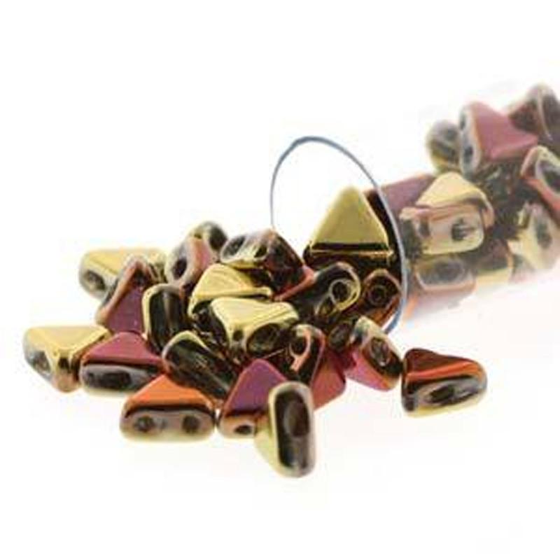 California Gold Rush 9 Gram Kheops Par Puca 6mm 2 Hole Triangle Czech Glass Beads KHP06-00030-98542-TB