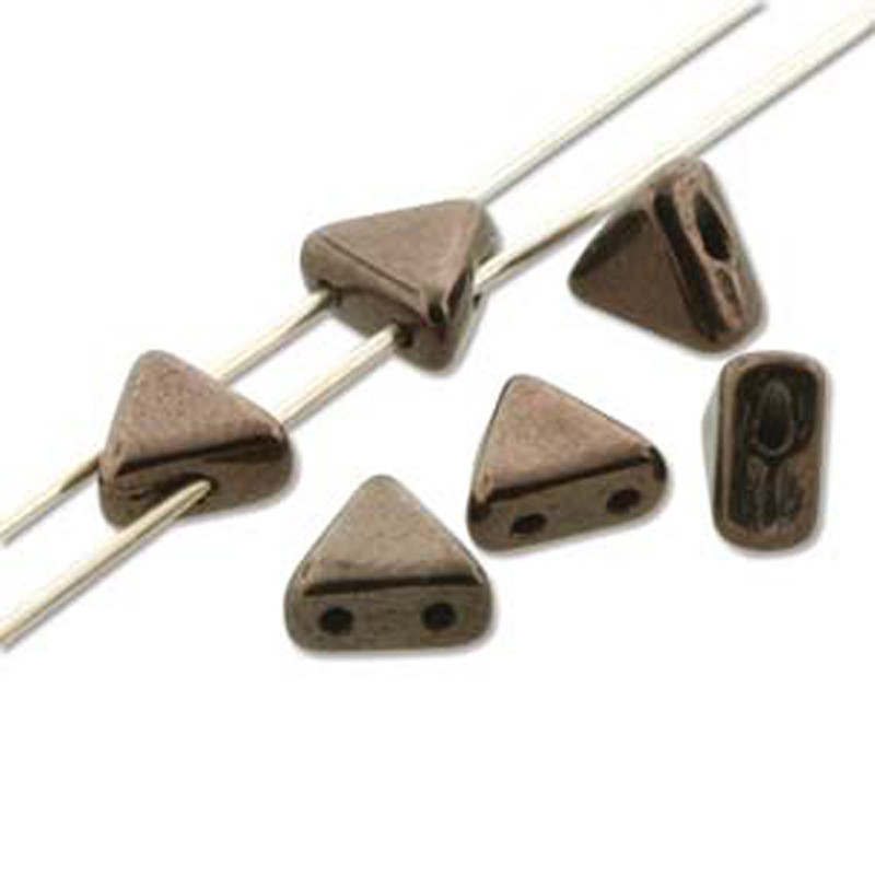 Jet Copper 9 Gram Kheops Par Puca 6mm 2 Hole Triangle Czech Glass Beads KHP06-23980-14435-TB