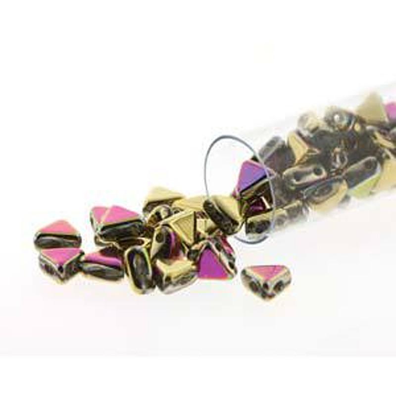 California Green 9 Gram Kheops Par Puca 6mm 2 Hole Triangle Czech Glass Beads KHP06-00030-98549-TB