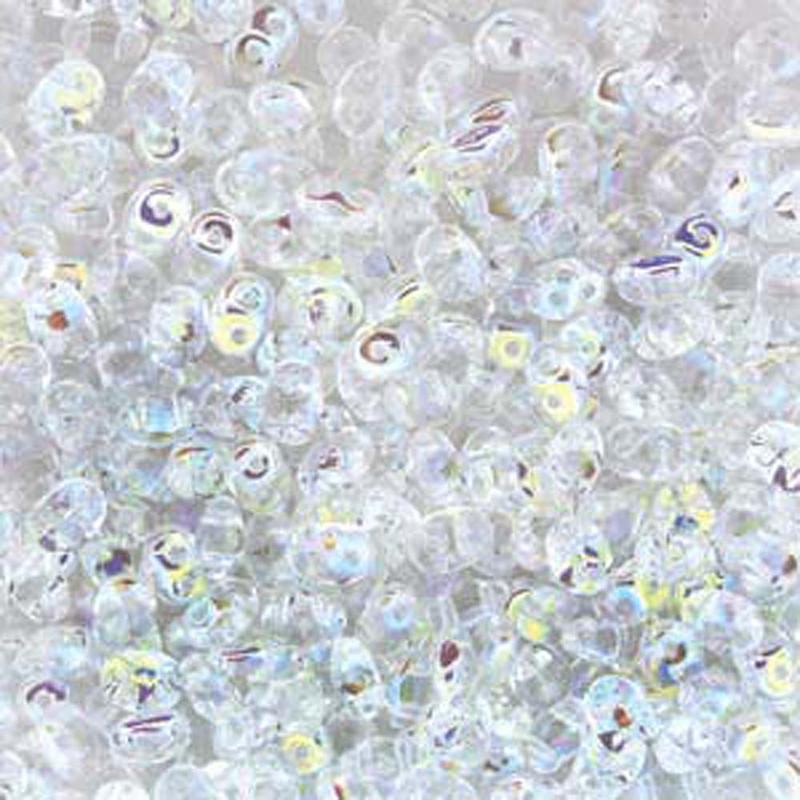 Crystal Ab 2x4mm 2 Hole Bead 8 Grams Superduo Miniduo