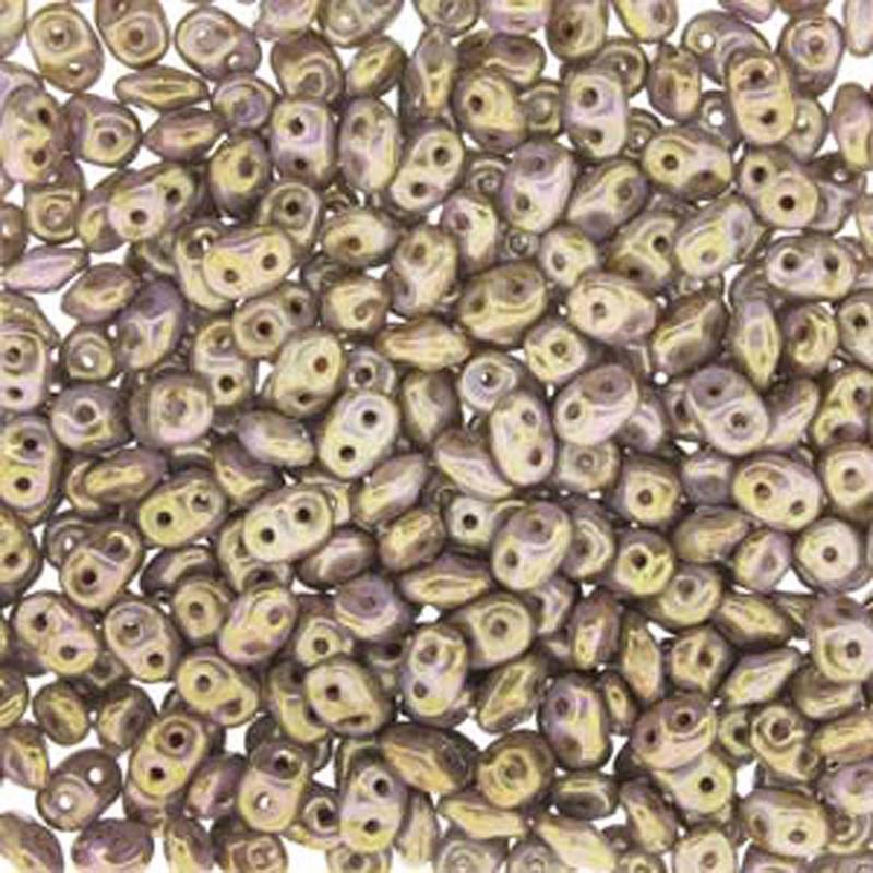 Chalk Sngl Brwn Prpl 2x4mm 2 Hole Bead 8 Grams Superduo Miniduo