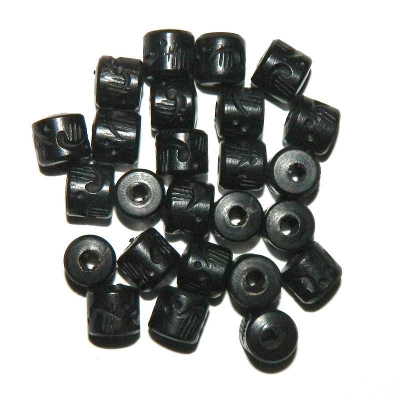 24 Hand Carved Ebony Wood Beads 3.5m Hole 10x10mm BA-BP-1651